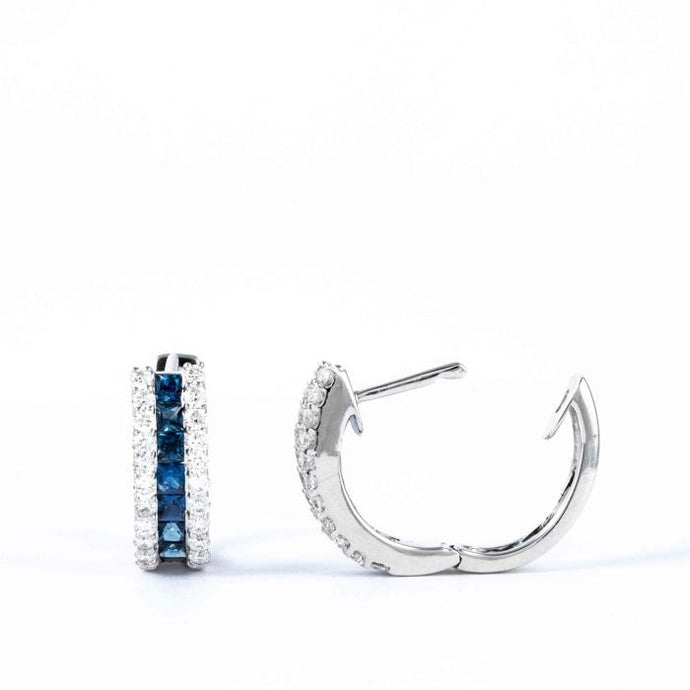 Diamond and Sapphire Huggie Earrings - Boston