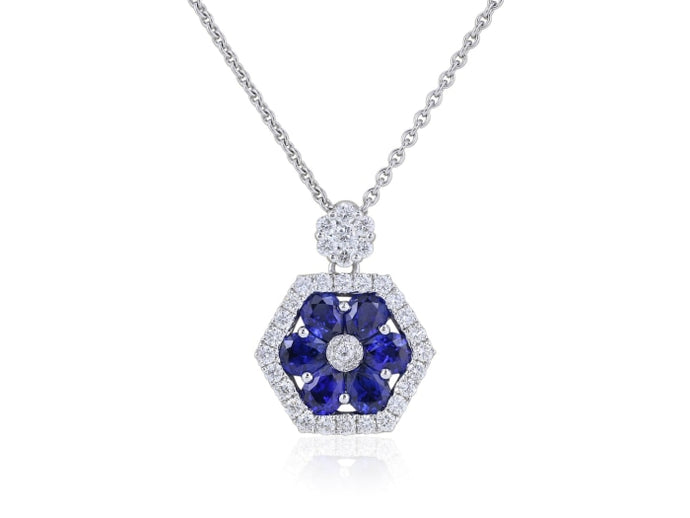 Sapphire & Diamond Pendant Necklace (White Gold) - JEWELRY Boston