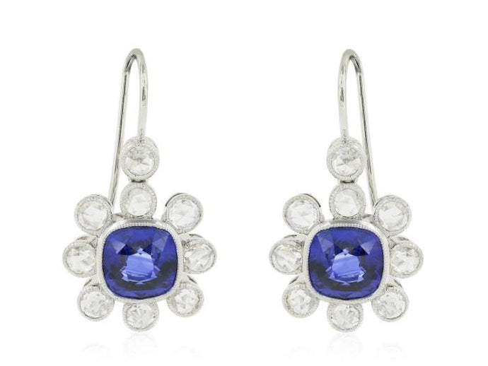 Sapphire and Diamond Vintage Style Drop Earrings - Boston