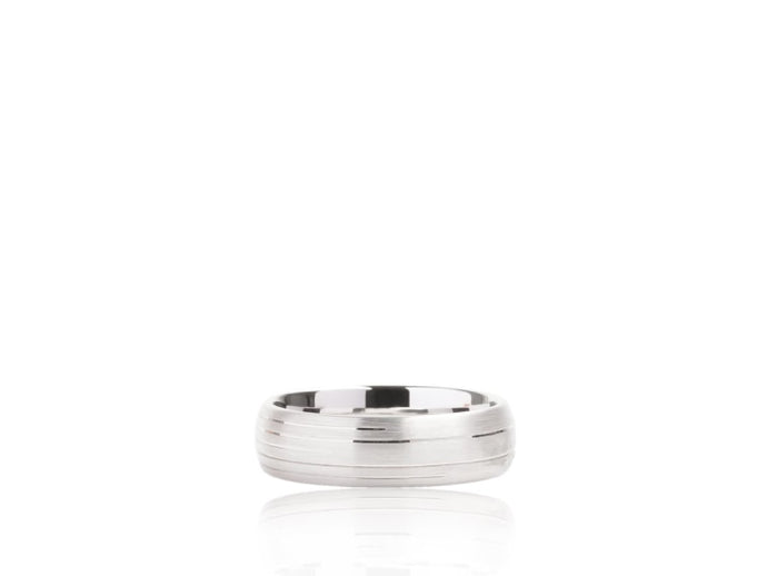 Satin Finish Wedding Band (White Gold) - JEWELRY Boston