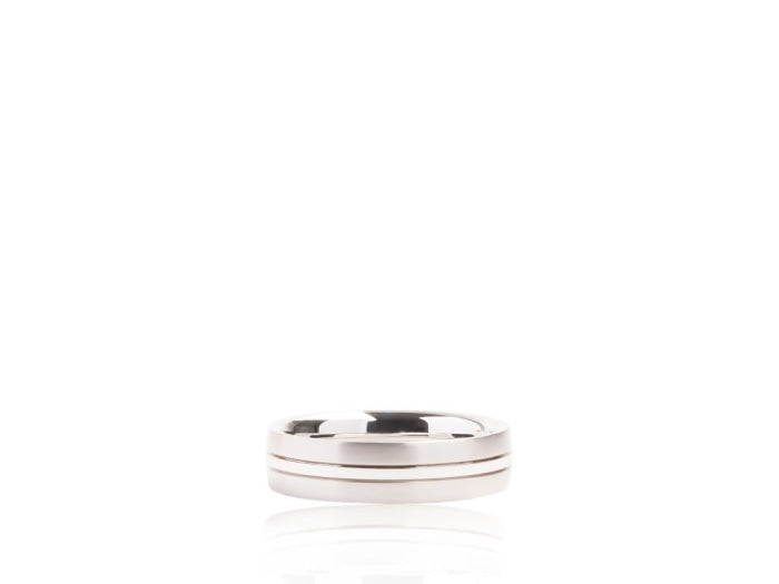 Satin & High Polished Wedding Band (White Gold) - JEWELRY Boston