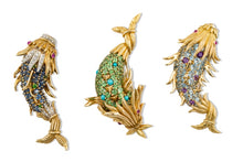 Load image into Gallery viewer, Schlumberger Full Gem Fish Brooch by Tiffany & Co. (Yellow Gold) - JEWELRY Boston