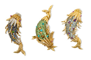 Schlumberger Full Gem Fish Brooch by Tiffany & Co. (Yellow Gold) - JEWELRY Boston
