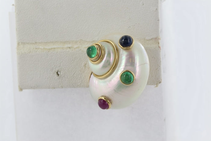 Shell Emerald & Ruby Earrings (18 Karat Yellow Gold) - Jewelry Designers Boston
