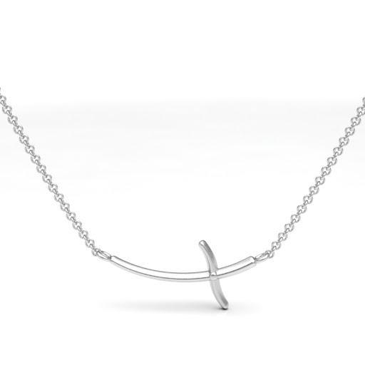 Sideways Cross Necklace (Sterling silver) - Boston