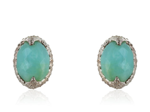Silver Oval Chalcedony Earrings - Jewelry Boston