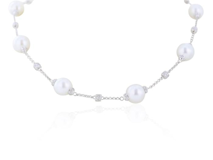 11-12Mm South Sea Cultured Pearl Necklace With 2.08 Carats Of Diamonds - Boston