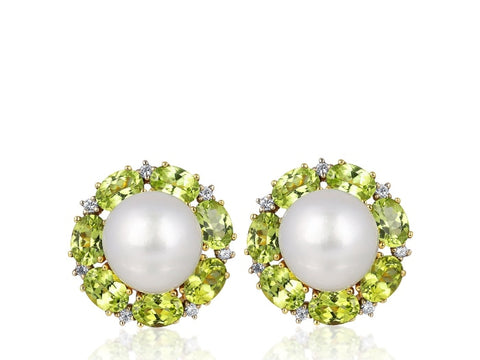 South Sea Pearl And Peridot Cluster Earrings - Jewelry Boston