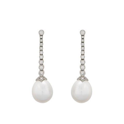 South Sea Pearl & Diamond Drop Earrings - Boston