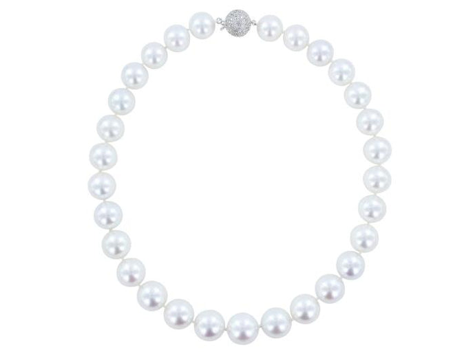 12.5-15 mm South Sea Pearl & 1.80ctw Pave Diamond Clasp Necklace - Boston