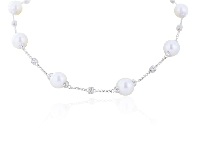 South Sea Pearl Station Necklace With 1.92 Carats Of Diamonds - Jewelry Boston