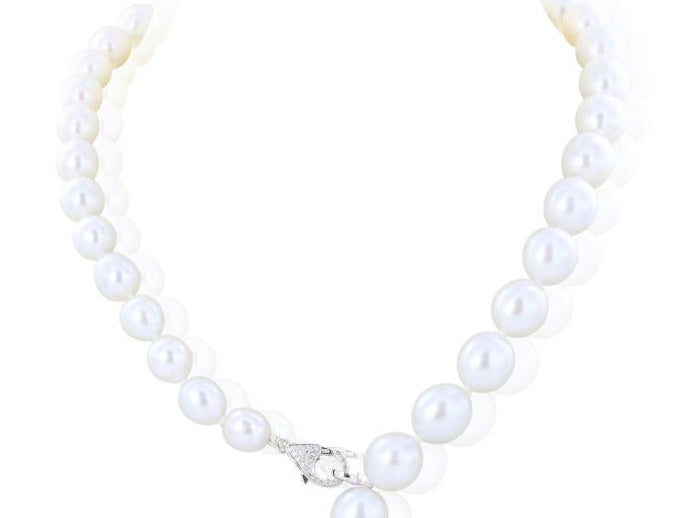 South Sea Pearl Tassel Necklace with Diamond Lariat - Boston