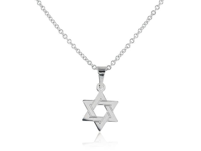 White Gold Star of David Pendant - Boston