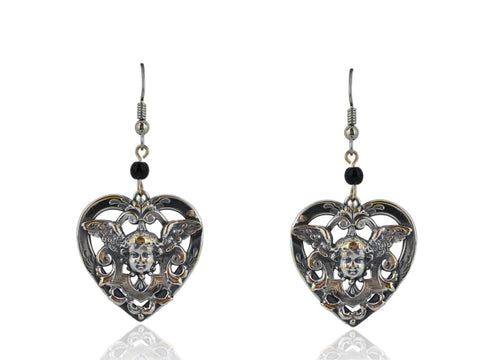 Sterling Silver Angel Heart Dangle Earrings - Jewelry Boston