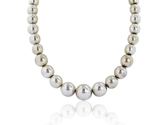 Sterling Silver Graduated Bead Necklace - Jewelry Boston