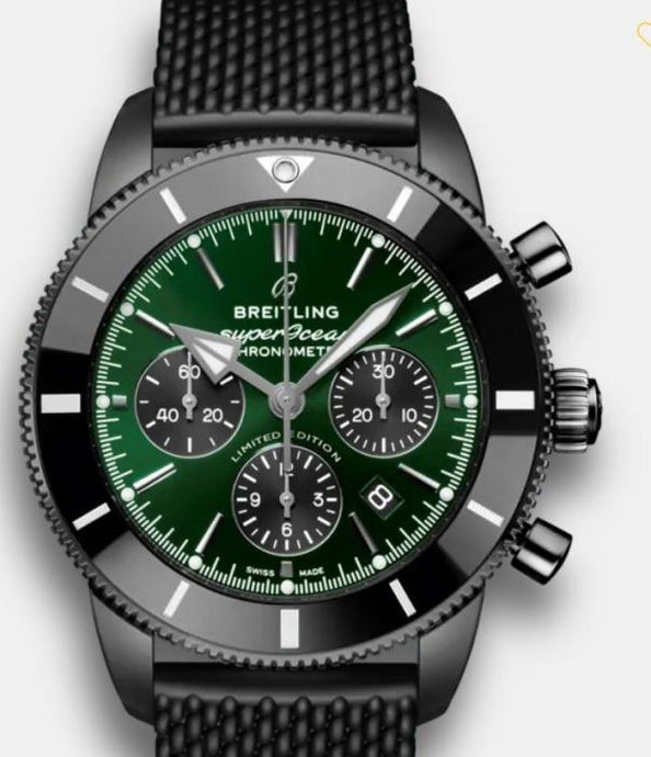 Superocean Heritage B01 Chronograph 44 Limited Edition Green Dial DLC-Coated Stainless Steel - 44mm (MB01621A1L1S1) - Boston