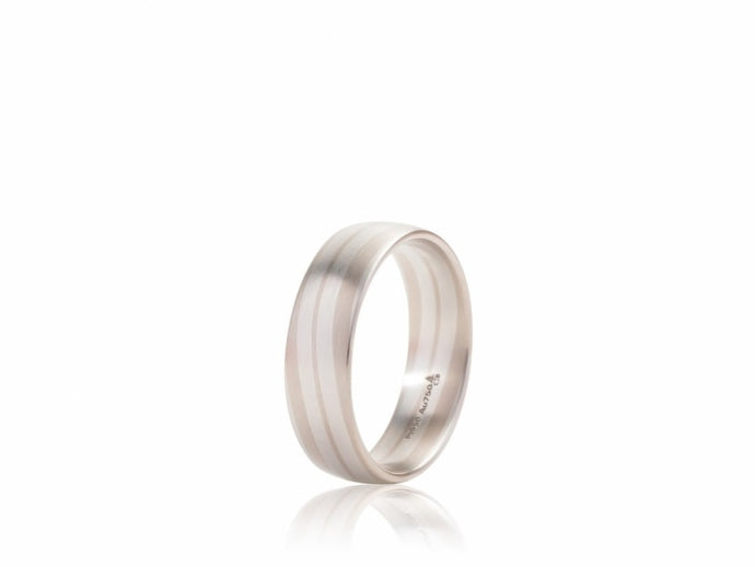 Swirl Design Wedding Band (Two Tone) - JEWELRY Boston