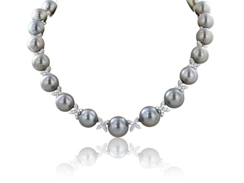 Tahitian Pearl Diamond Necklace - Jewelry Boston