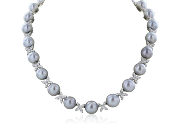 Tahitian Pearl Necklace 9.5 - 12Mm - Jewelry Boston