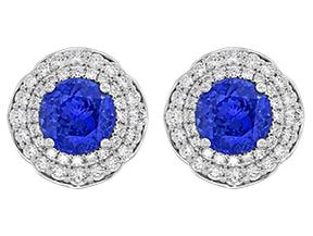 Tanzanite And Diamond Cluster Earrings - Jewelry Boston
