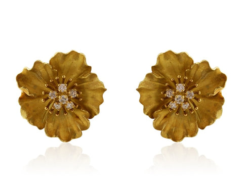 Tiffany & Co. Flower Earrings With .55 Carat Diamond Accents - Jewelery Boston
