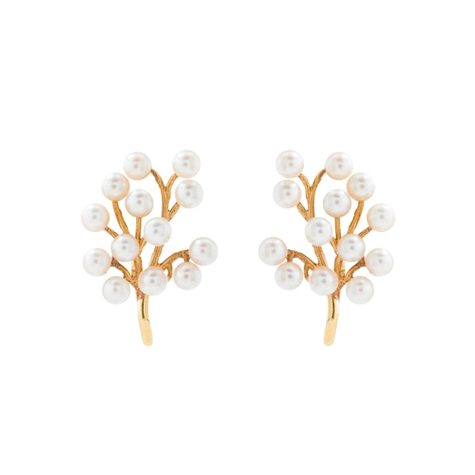 Tree of life pearl earrings (Yellow Gold) - JEWELRY Boston