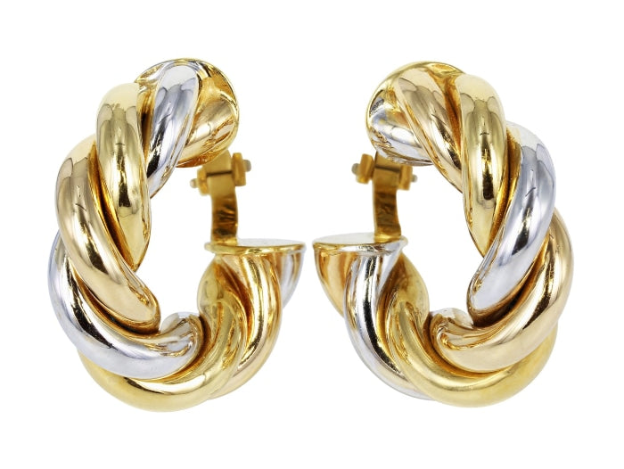 Tri-Colored Gold Estate Hoop Earrings - JEWELRY Boston