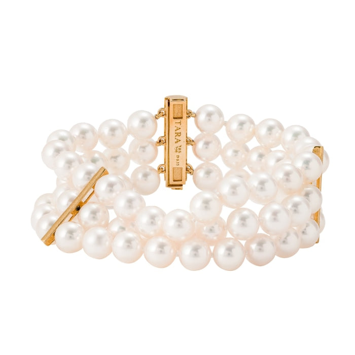 Triple Strand Pearl Bracelet (18k Yellow Gold) - JEWELRY Boston