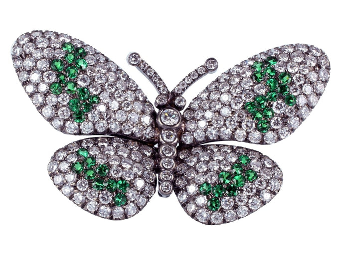 Tsavorite Garnet & Diamond Butterfly Pin - JEWELRY Boston