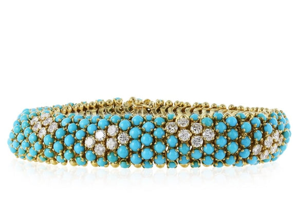Turquoise And Diamond Snake Bracelet (18T Yellow Gold) - Jewelry Boston