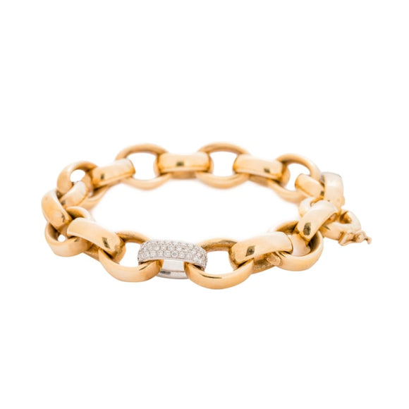 Two Tone 18 Karat Gold And Diamond Bracelet - Boston