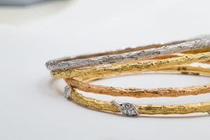 Two-Tone Diamond Leaf Bangle - JEWELRY Boston