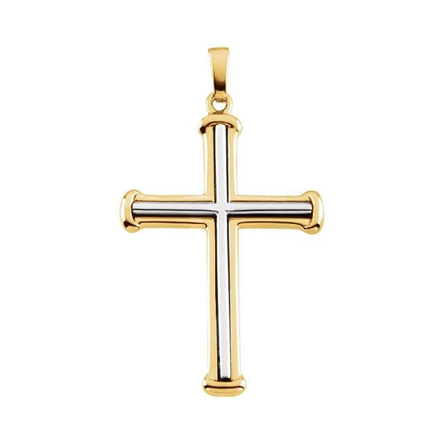 Two-Tone Gold Cross Pendant Necklace - JEWELRY Boston
