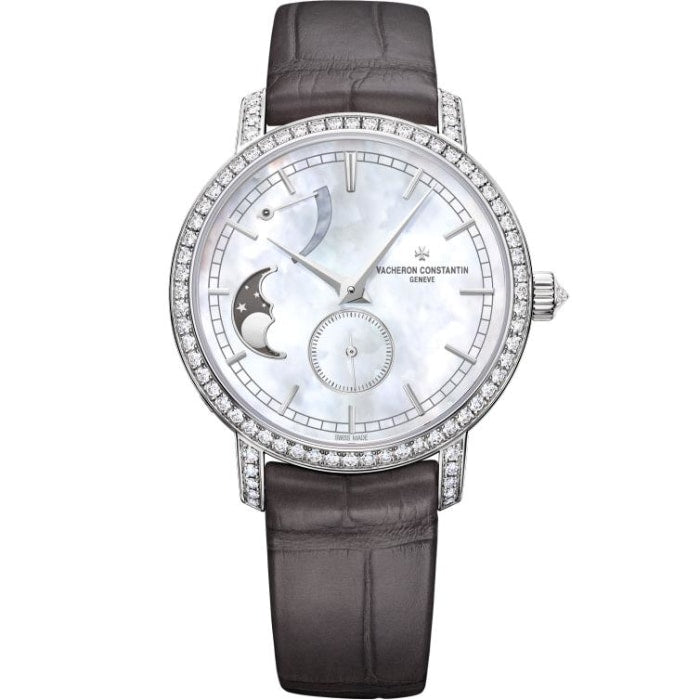 Vacheron Constantin Traditionnelle Moonphase 36Mm Ladies White Gold W/ Diamonds (83570/000G-9916) - Watches Boston
