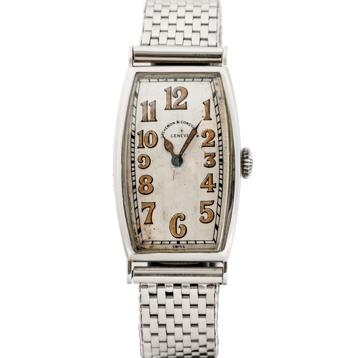 Vacheron Constantin Vintage 1920s Oversized White Gold Tonneau Watch - Boston