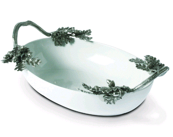 Vagabond Acorn Oak & Leaf Stoneware Serving Dish - Home & Decor Boston