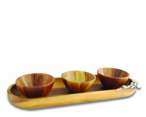 Vagabond House Olive Wood Tray w/Bowls - HOME & DECOR Boston