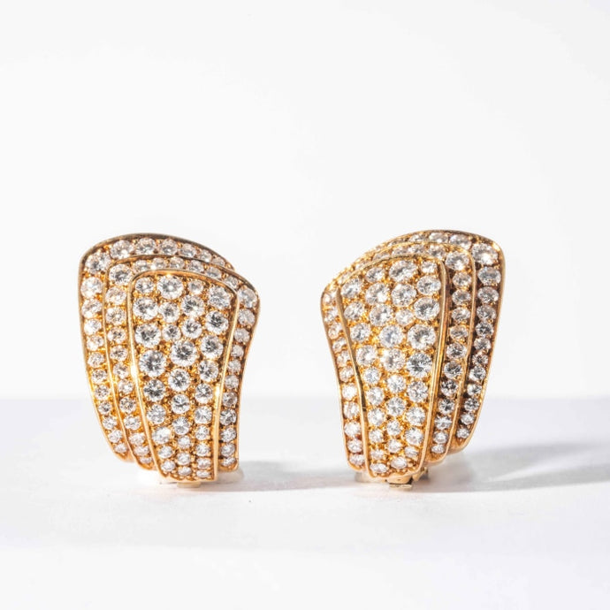 Van Cleef & Arpels yellow gold and diamond pave clip earrings (Vintage) - Boston