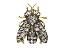 Load image into Gallery viewer, Victorian Diamond Insect Pin (14k Yellow Gold) - JEWELRY Boston