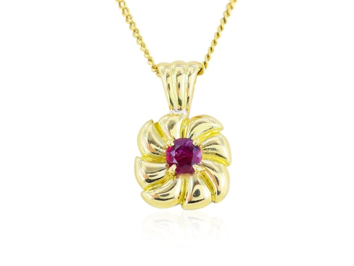 Vintage 0.33 Carat Ruby Pendant Necklace (14K Yellow Gold) - Jewelry Boston
