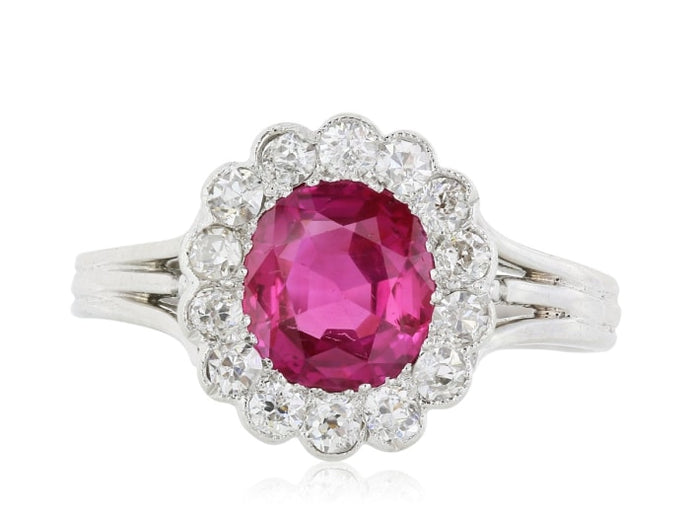 Vintage 1.65 Carat Mogok Burma Ruby And Diamond Cluster Ring (Platinum) - Jewelry Boston