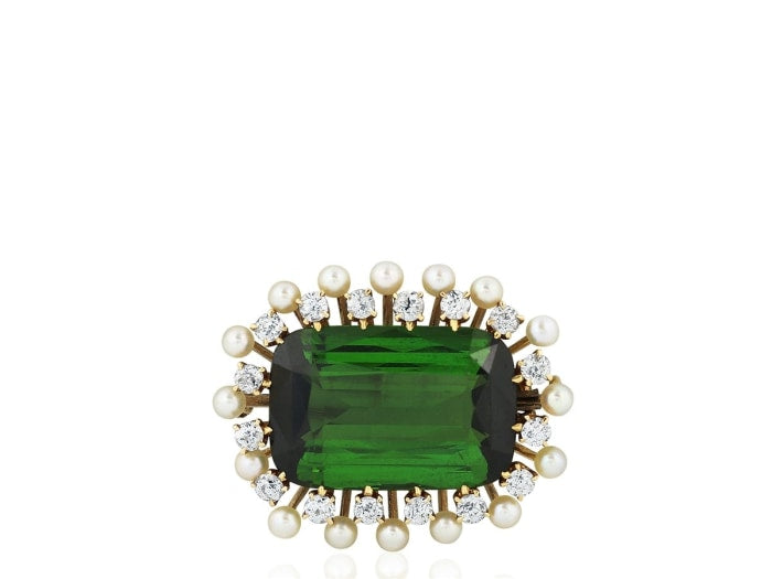 Vintage 14.85 Carat Green Tourmaline Pin (14K Yellow Gold) - Jewelry Boston