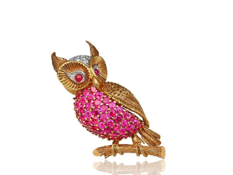 Vintage Je Caldwell Ruby And Diamond Owl Brooch (18K Yellow Gold) - Jewelry Boston