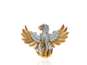 Vintage Phoenix Pin Signed Mcteigue - Jewelry Boston