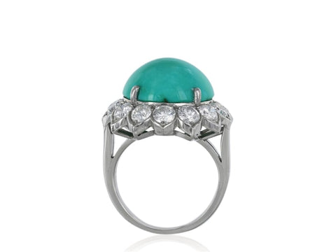 Vintage Van Cleef & Arpels Turquoise And Diamond Ring (Platinum) - Jewelry Boston