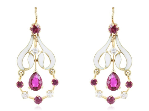 White Enamel Ruby And Diamond Dangle Earrings - Jewelry Boston