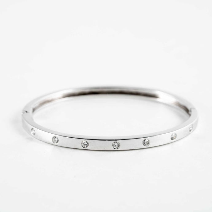 White Gold Diamond Bangle - JEWELRY Boston