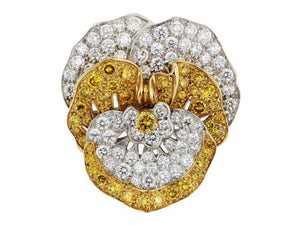 Canary Diamond Pansy Pin by Oscar Heyman (Two Tone) - Jewelry Designers Boston