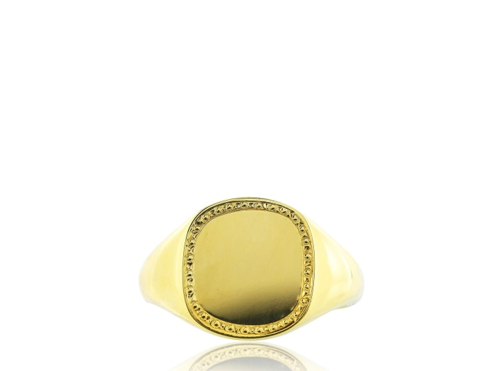 Yellow Gold Engraved Signet Ring - Jewelry Boston