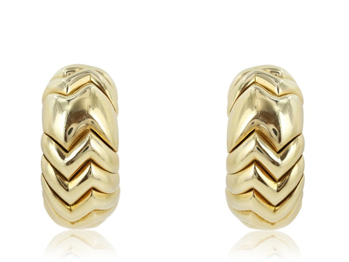 Yellow Gold Estate Bulgari Spiga Earrings - Jewelry Boston